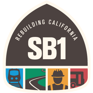 This logo takes users to the About SB1 page on the Caltrans website.