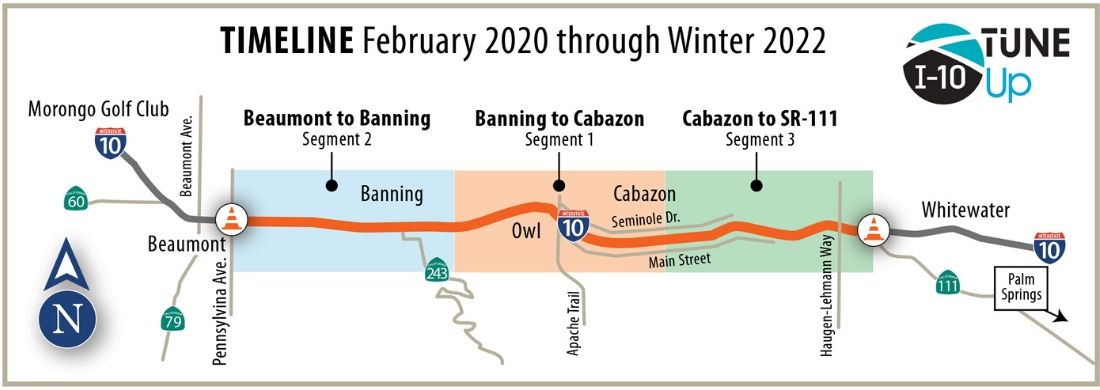 This map shows the project area on I-10 from Beaumont to State Route 111. It also shows the three construction segments: segment 1 is Banning to Cabazon, segment two is Beaumont to Banning and segment 3 is Cabazon to SR-111.