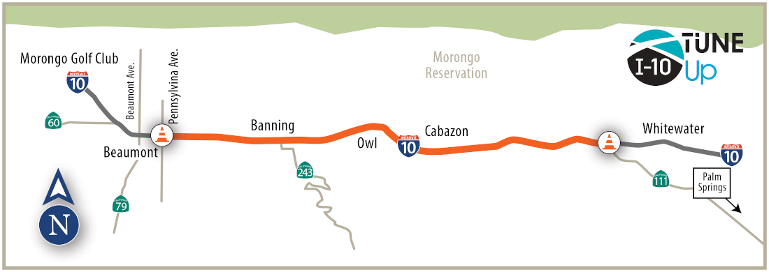 This map shows the project area on I-10 from Beaumont to State Route 111. It also shows a north directional arrow and the I-10 TuneUp logo.